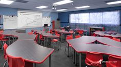 Classroom with UXL Crescent Desks, Flavors Seating, Interchange Wing Desks, Interchange Diamond Desks and Cascade Storage