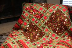 Christmas Quilted Throw  Holiday Woodland by LightsideCreations