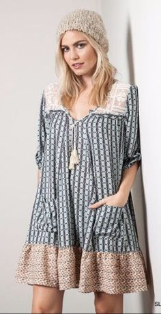 Umgee-Shift-Dress-Sheer-Lace-Top-Tassel-Tie-Neckline-Bohemian-Boho-A1171 #Unique_Boho_Style