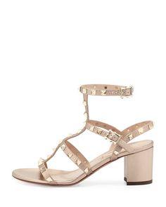 S0C6K Valentino Rockstud Leather City Sandal, Skin