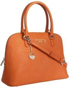 DKNY Saffiano Leather Round Satchel (Orange)