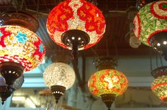 Very cool and colorful looking chandeliers!