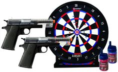 Crosman Airsoft Stinger Challenge Kit - 2 Pistols! Target! 2 Bottles of Ammo!