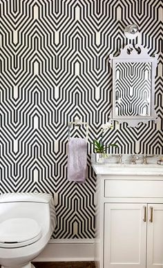 Powder Room with Osborne and Little Minaret Wallpaper, Contemporary, Bathroom