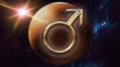 mars zodiac horoscope symbol and planet 3d rendering