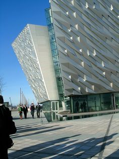 Titanic Belfast... a gorgeous building.  Each of the building's corners is meant to suggest the bow of a ship, and is exactly the height from the Titanic's keel to her bow.