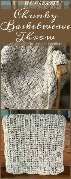 Crochet Basketweave Throw Blanket Pattern #CrochetGifts