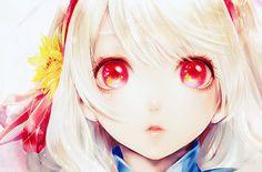 White haired, red eyed anime girl.