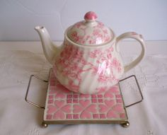 Vintage Pink Ceramic Tiles Hot Plate Mosaic Tiles Mid Century Trivet by CraftyMJC on Etsy
