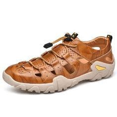 New Cow Genuine Leather Sandals Outdoor 2019 Summer Men Shoes Men Breathable Casual Shoes Footwear Walking Beach Sandals Size 47 Beach Shoes, Beach Sandals, Gladiator Sandals, Leather Sandals, Comfortable Sandals, Yellow And Brown, Cow Leather, Business Casual, Shoes