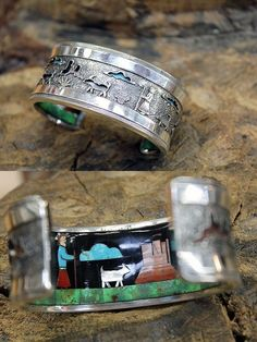 Story Teller Bracelet, silver on top, inlay inside.
