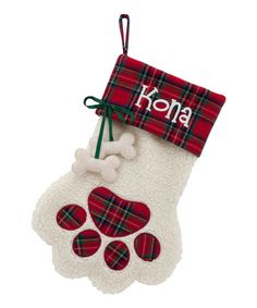 This Red Plaid Dog Bone Personalized Paw Stocking is perfect! #zulilyfinds