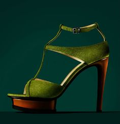Giorgio Armani t-strap green suede heels platform