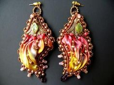 Bead embroidered earrings PASSION Shibori silk ribbon by Maewa, €69.00 by Maryann Bayley