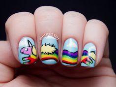 Chalkboard Nails: Lady Rainicorn Adventure Time Nail Art