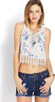 FOREVER 21 Botanical Floral Crocheted Top
