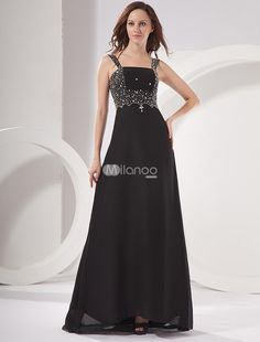 Black Applique Beaded Chiffon Prom Dress. This prom dress is so amazing! The delicate and beautiful beading decorated along the straps and waistline will attract attention at first time and make you cannot take your eye off this dress. Appliqué is another highlight w.. . See More Colorful Prom at http://www.ourgreatshop.com/Colorful-Prom-C945.aspx