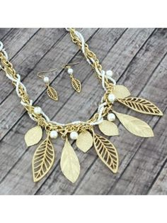 Goldtone and Seed Bead Leaf Necklace and Earring Set
