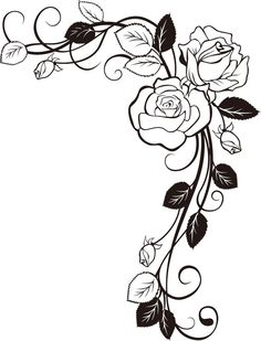 26 Trendy tattoo rose drawing coloring pages Colouring Pages, Adult Coloring Pages, Coloring Books, Stencil Patterns, Embroidery Patterns, Border Embroidery, Stencil Templates, Rose Vine Tattoos, Vine Drawing