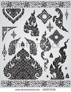 Set of Thai art element, Decorative motifs. Hawaiian Tribal Tattoos, Samoan Tribal Tattoos, Thailand Art, Thailand Tattoo, Thai Tattoo, Maori Tattoos, Thai Pattern, Thai Design, Cross Tattoo For Men