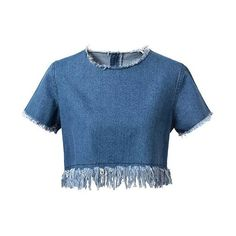 Frayed Denim Crop Top (130 RON) ❤ liked on Polyvore featuring tops, zaful, crop top, blue top, denim crop top, cut-out crop tops and blue crop top