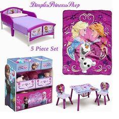 5 Piece Disney Frozen Toddler Bedroom Set Bed Blanket Table Chair Toy  Organizer $325.00