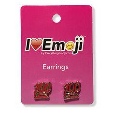 Emoji Red 100% Silver Stud Earrings