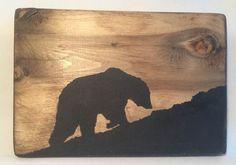 Wooden bear sillouette wall hanging art decor by BlacknotFarm