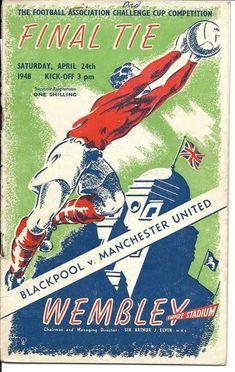 Football Program, Football Cards, Blackpool Fc, Challenge Cup, Sir Alex Ferguson, Fa Cup Final, Billboard Signs, Everton Fc, Wembley Stadium