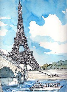 Paris, Eiffel Tower, original pen drawing and watercolour on paper, signed, 9,4 x 13,4 ; 24,0 cm x 34,0 cm