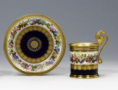 A Sèvres cabinet cup and saucer circa 1827
