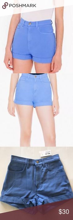 "American Apparel Denim High Waist Cuff Blue Shorts NWT New with tag  American Apparel Denim / Jean High Waisted Cuffed Shorts in ""Cornflower"" (periwinkle blue) Perfect for spring / summer / festivals  Originally $58 Size 26  Approximate measurements (flat): Waist: 13"" Length: 12.25"" Leg opening: 11.25""  Check out my closet for bundles! American Apparel Shorts Jean Shorts"