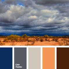 Boundless dangerous desert and vast stormy sky. This combination is fraught with the spirit of adventure. Therefore, saturated color combination of orange, dark blue, brown, gray stirs the blood. This palette is for those who are not afraid of difficulties, is stubborn and likes to stand out from the crowd.