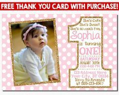 Hey, I found this really awesome Etsy listing at https://www.etsy.com/listing/203488788/pink-and-gold-first-birthday-invitation