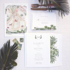 Custom wedding invitation suite with watercolor map of Los Olivos, CA by Honey Paper   destination wedding   wine country wedding. Honey Paper is located in Santa Barbara County in Los Olivos, California. www.honey-paper.com