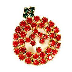 Jack O Lantern Brooch Vintage Pin Rhinestone Tie Gold Tone Fall Halloween p445