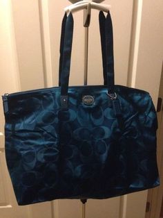 COACH TEAL SIGNATURE WEEKENDER LARGE PACKABLE BAG TOTE WITH GIFT BOX BRAND NEW Deal $149.99