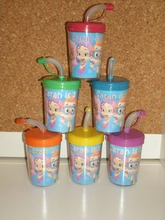 Bubble Guppies Personalized Party Favor Cups (Set of 6) You can have your child's name and age or whatever wording you like placed on these cups. These are great to put treats in or to put in your party favor bags.