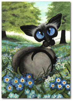 Siamese Cat - Forget Me Nots Summer Wild Flower ArT - 5x7 Print by AmyLyn Bihrle via Etsy