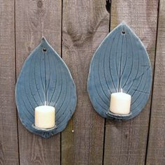 Handbuilt Tall Hosta Leaf Clay/Pottery Wall Hanging Candle Sconces/ Holders in Blue Gray Celadon, set of 2. $25.00, via Etsy.