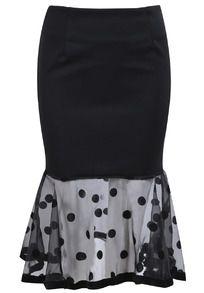 Peplum Hem Polka Dot Midi Skirt
