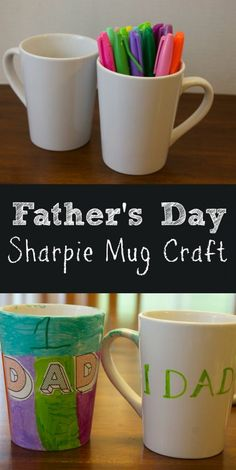 Sharpie Mug: Easy Kids Craft For Father's Day. This sharpie mug is the perfect easy kids craft for Father's Day and makes a great gift for dad. clever fathers day gifts, diy fathers day gifts ideas, fathers day gifts to make Kids Fathers Day Crafts, Fathers Day Mugs, Easy Crafts For Kids, Great Gifts For Dad, Gifts For Kids, Diy Birthday Presents For Dad, Dad Presents, Dad Birthday, Mug Crafts
