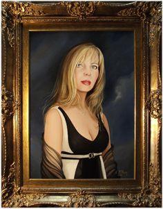 RITRATTO AD OLIO. Liliana Letteria Dinaro, cm. 50x70. Opera di Albert Edwin Flury