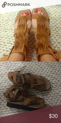 Kurt Geiger fringe sandals In great condition these sandals are beyond cute for that Coachella festival vibe ! Wear them with dresses and shorts ! Made out of micro suede Shoes Sandals