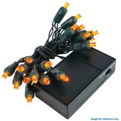 20 Amber 5mm LED Battery Operated Lights with Green Wire – BulbAmerica