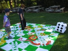 This gives me the coolest idea for a camping game, or kids bedroom blankets/game board
