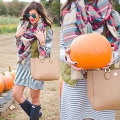 I'm talking all about my trip to the pumpkin patch outside of Boston on www.asoutherndrawl.com! // Shop my outfit details on the blog or via @liketoknow.it by typing this URL into your browser  www.liketk.it/1NBiq #liketkit #asoutherndrawl #boston #pumpkinpatch #pumpkins #plaid #quiltedvest #blanketscarf #fallinspo #fallready #fallfashion #fallscarf #fallstyle #stripes #wellies