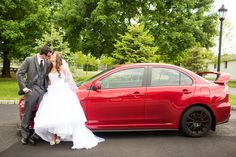 Shot with the Groom's Car - Mitsubishi Lancer Evolution X | Photo By Kaitlin Noel Photography