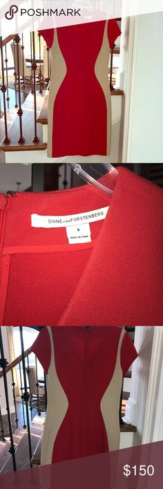 Diane Von Furstenberg dress Diane Von Furstenberg body slimming dress in red and tan. Only worn once! Great condition! Could be worn to work, weddings, or any other event. A great fit and very comfortable! Diane Von Furstenberg Dresses