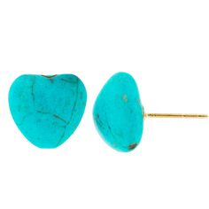 Genuine Turquoise Heart Earrings in 14-Karat Solid Gold at 88% Savings off Retail!